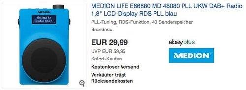 MEDION LIFE E66880 MD 48080 PLL UKW DAB+ Radio mit 1,8 Zoll LCD-Display - jetzt 25% billiger