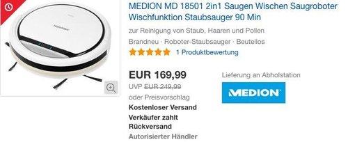 MEDION MD 18501 Saugroboter mit Wischfunktion - jetzt 15% billiger