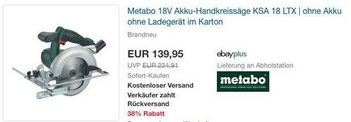 Metabo 18V Akku-Handkreissäge KSA 18 LTX, ohne Akku und ohne Ladegerät, im - jetzt 12% billiger