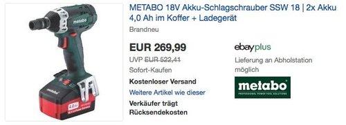 METABO 18V Akku-Schlagschrauber SSW 18 mit 2x Akku 4,0 Ah im Koffer + Ladegerät - jetzt 5% billiger