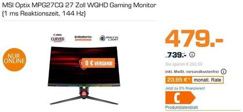 MSI Optix MPG27CQ 27 Zoll WQHD Gaming Monitor (1 ms Reaktionszeit, 144 Hz) - jetzt 24% billiger