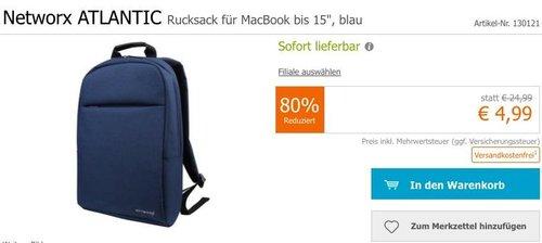 """Networx ATLANTIC Rucksack für MacBook bis 15"""" in Blau - jetzt 69% billiger"""