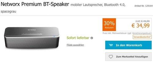 Networx Premium Bluetooth Lautsprecher, spacegrau - jetzt 13% billiger