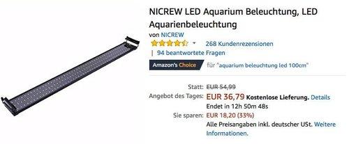 NICREW LED Aquarium Beleuchtung 95 - 115 cm, 25W - jetzt 29% billiger