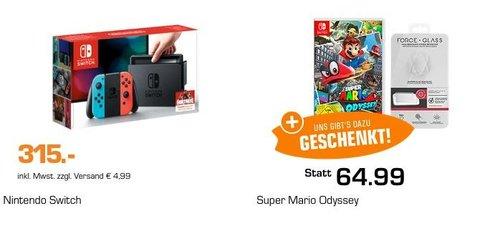 NINTENDO Switch Spielekonsole + Super Mario Odyssey - Nintendo Switch + BIGBEN Bildschirmschutzfolie für Nintendo Switch - jetzt 18% billiger