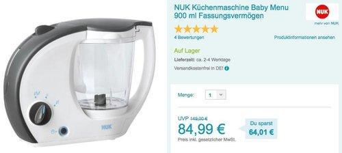 NUK Küchenmaschine Baby Menu mit 900 ml Fassungsvermögen - jetzt 14% billiger