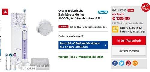 Oral-B Genius 10000N Elektrische Zahnbürste mit Zahnfleischschutz-Assistent, lavendel-weiß - jetzt 31% billiger
