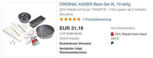 ORIGINAL KAISER Back-Set XL 10-teilig - jetzt 20% billiger