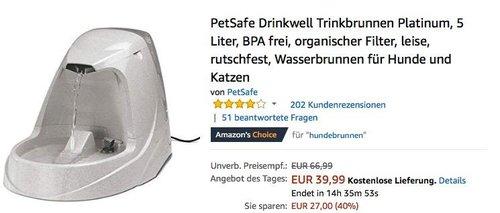 PetSafe Drinkwell Platinum 5 Liter Trinkbrunnen für Hunde und Katzen - jetzt 31% billiger