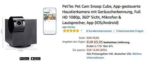 PetTec Pet Cam Snoop Cube, App-gesteuerte Haustierkamera mit Geräuscherkennung - jetzt 20% billiger