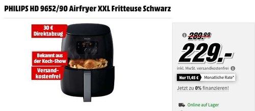 PHILIPS HD 9652/90 Airfryer XXL Fritteuse in Schwarz - jetzt 29% billiger