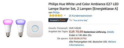 Philips Hue White und Color Ambiance E27 LED Lampe Starter Set, 2 Lampen - jetzt 19% billiger