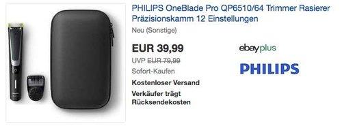 PHILIPS OneBlade Pro QP6510/64 Trimmer, neu und unbenutzt,  aber leichte Verpackungsmängel können vorhanden sein - jetzt 39% billiger