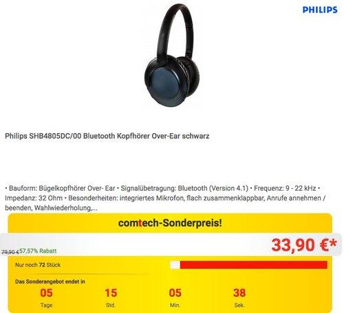 Philips SHB4805DC/00 Bluetooth Kopfhörer in Schwarz - jetzt 13% billiger