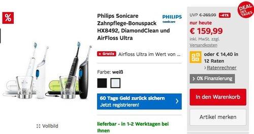 Philips Sonicare Zahnpflege-Bonuspack HX8492 DiamondClean inkl. AirFloss Ultra - jetzt 14% billiger