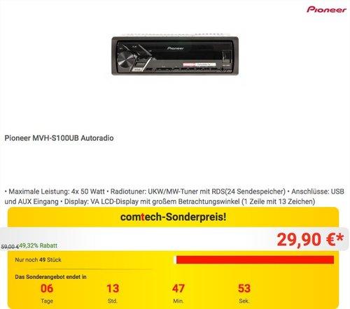 Pioneer MVH-S100UB Autoradio - jetzt 25% billiger