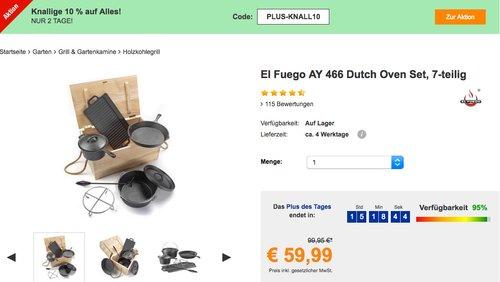 Plus.de bis 10% Rabatt auf fast alles: z.B. El Fuego AY 466 Dutch Oven Set, 7-teilig - jetzt 10% billiger