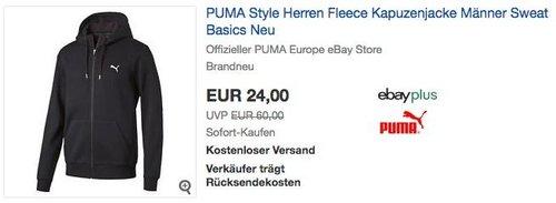 Puma Style Herren Fleece Kapuzenjackein Schwarz,Blau oder Grau - jetzt 31% billiger