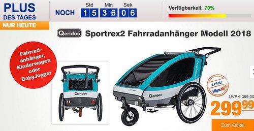 Qeridoo Sportrex2 Fahrradanhänger Modell 2018 in Aquamarin - jetzt 7% billiger