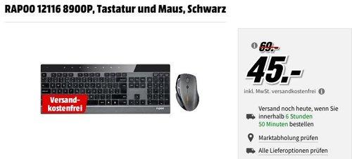 Rapoo 8900P ultraschlanke kabellose Edelstahl Tastatur mit Laser Maus - jetzt 25% billiger