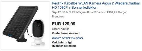 Reolink Argus 2 kabellose WLAN Kamera inkl. Reolink Solarpanel - jetzt 10% billiger