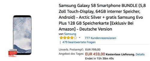 Samsung Galaxy S8 Smartphone Arctic Silver inkl. Samsung Evo Plus 128 GB Speicherkarte - jetzt 7% billiger