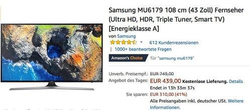 Samsung MU6179 108 cm (43 Zoll) Ultra HD Fernseher - jetzt 12% billiger
