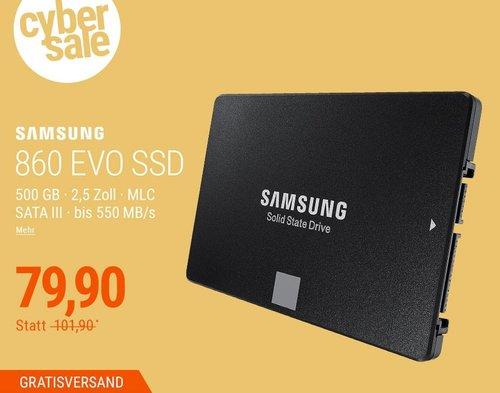 Samsung SSD 860 EVO Series 500GB interne Festplatte - jetzt 16% billiger