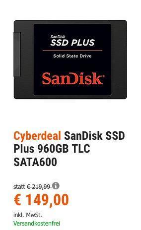 SanDisk SSD Plus 960GB interne Festplatte - jetzt 13% billiger