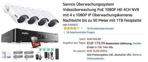 Sannce Überwachungssystem Videoüberwachung PoE 1080P HD 4CH NVR mit 4 x 1080P IP Überwachungskameras Nachtsicht bis zu 30 Meter mit 1TB Festplatte - jetzt 25% billiger
