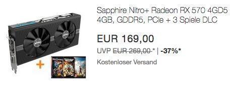 Sapphire Nitro+ Radeon RX 570 4GD5 Gaming Grafikkarte (AMD, 4GB, GDDR5, PCIe) inkl. 3 Spiele - jetzt 31% billiger