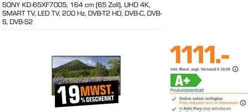 Saturn 19% Mehrwertsteuer Geschenk - Aktion: z.B. SONY KD-65XF7005 164 cm (65 Zoll) UHD 4K SMART TV - jetzt 16% billiger