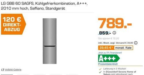 Saturn LG Direktabzug - Aktion: z.B. LG GBB 60 SAGFS Kühlgefrierkombination 201 cm hoch - jetzt 15% billiger