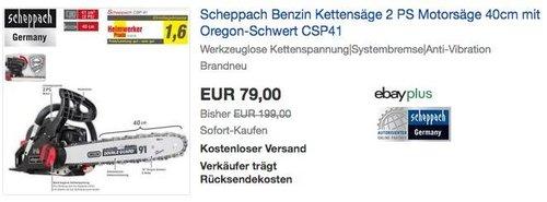 Scheppach CSP41 Benzin Kettensäge 2 PS Motorsäge mit 40cm Oregon-Schwert - jetzt 12% billiger