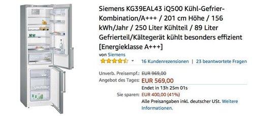Siemens KG39EAL43 iQ500 Kühl-Gefrier-Kombination, A+++, 201 cm Höhe - jetzt 10% billiger
