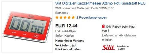 Silit Digitaler Kurzzeitmesser Attimo in Rot - jetzt 20% billiger