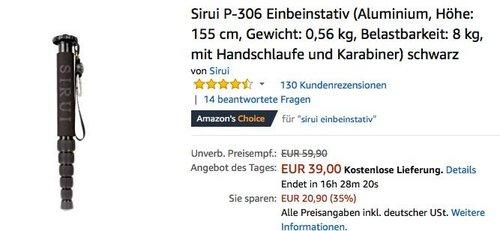 Sirui P-306 Einbeinstativ 155 cm in Schwarz - jetzt 20% billiger