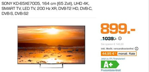 SONY KD-65XE7005 164 cm (65 Zoll) UHD 4K Fernseher - jetzt 18% billiger