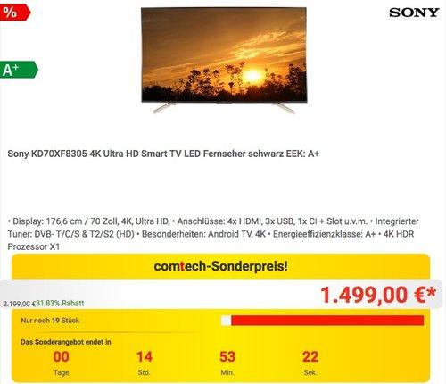 Sony KD70XF8305 4K Ultra HD 70 Zoll LED Fernseher - jetzt 11% billiger