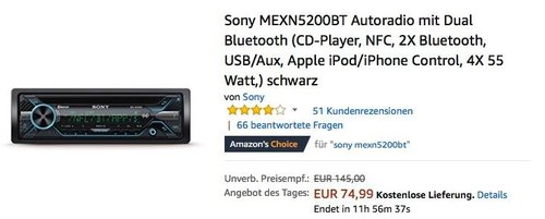 Sony MEXN5200BT Autoradio mit Dual Bluetooth in Schwarz - jetzt 22% billiger