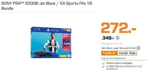 SONY PS4™ 500GB Jet Black / EA Sports Fifa 19-Bundle - jetzt 22% billiger