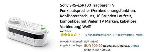 Sony SRS-LSR100 Tragbarer TV Funklautsprecher, Akku-Zusatzlautsprecher mit Universalfernbedienung - jetzt 19% billiger