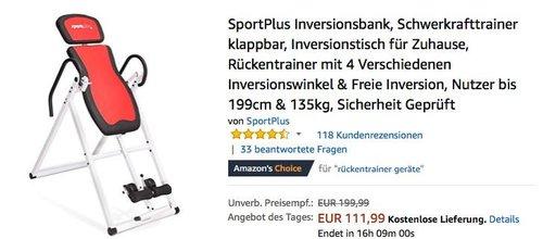 SportPlus Inversionsbank Schwerkrafttrainer - jetzt 14% billiger