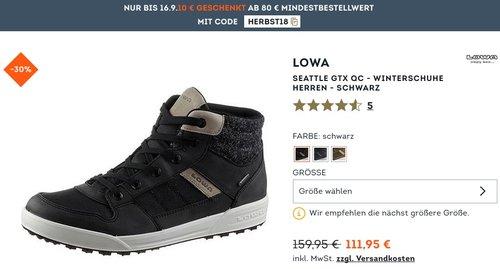 SportScheck.com 10€ geschenkt ab 80€: z.B. Lowa Seattle GTX QC - Herren Winterschuhe - jetzt 9% billiger