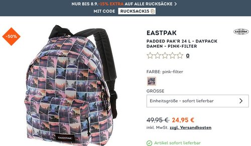 SportScheck.com 15 % extra Rabatt auf alle Rucksäcke: z.B. Eastpak Padded Pak'R Rucksack pink-filter - jetzt 37% billiger