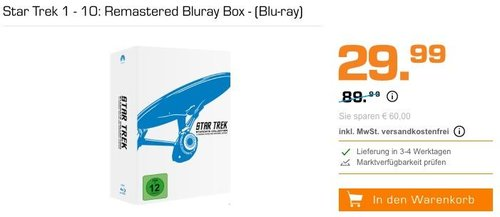 Star Trek 1 - 10: Remastered Bluray Box - (Blu-ray) - jetzt 39% billiger