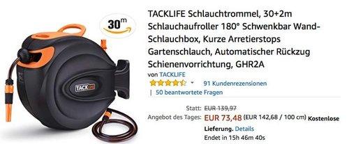 TACKLIFE Schlauchtrommel 30+2m, 180° schwenkbare Wand-Schlauchbox - jetzt 18% billiger