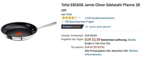 Tefal E85606 Jamie Oliver Edelstahl Pfanne 28 cm mit THERMO-SPOT - jetzt 27% billiger