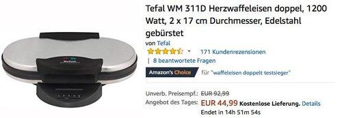 Tefal WM 311D Herzwaffeleisen doppel - jetzt 25% billiger