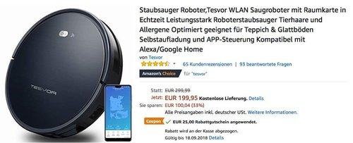 Tesvor Staubsauger Roboter, kompatibel mit Alexa/Google Home - jetzt 13% billiger